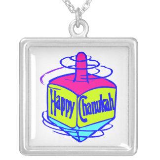 Chanukah Dreidel Square Pendant Necklace