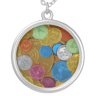 Chanukah Gelt Round Pendant Necklace