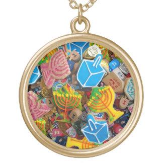 Chanukah Menorahs, Dreidels, Gelt Round Pendant Necklace