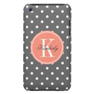 Charcoal Gray Polka Dot with Coral Monogram iPod Case-Mate Cases