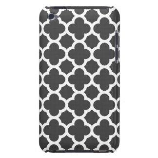 Charcoal Gray Quatrefoil Trellis Pattern iPod Case-Mate Cases