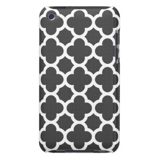 Charcoal Gray Quatrefoil Trellis Pattern iPod Touch Case-Mate Case