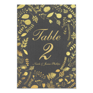Charcoal Grey & Gold Floral Wedding Table Card 9 Cm X 13 Cm Invitation Card