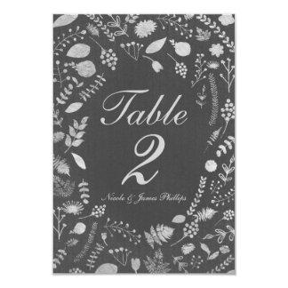 Charcoal Grey & Silver Floral Wedding Table Card 9 Cm X 13 Cm Invitation Card