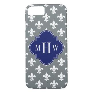 Charcoal Wht Fleur de Lis Navy 3 Init Monogram iPhone 7 Case