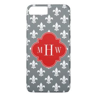 Charcoal Wht Fleur de Lis Red 3 Init Monogram iPhone 7 Plus Case