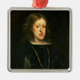 Charles II  of Spain Silver-Colored Square Decoration