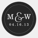 Charming Wedding Monogram Sticker - Black
