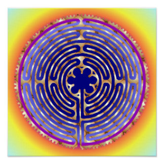 Chartres Labyrinth Pearl Light Paths Print