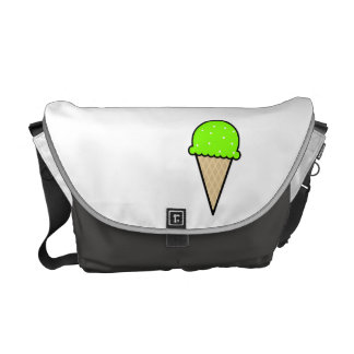 Chartreuse, Neon Green Ice Cream Cone Courier Bag
