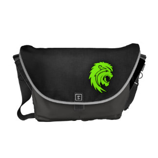 Chartreuse, Neon Green Leo Lion Messenger Bag