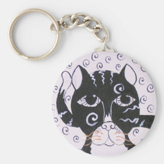 Chat  Noir Basic Round Button Key Ring