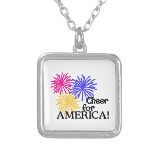 Cheer For America! Square Pendant Necklace