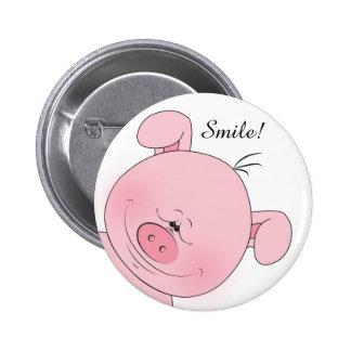 Cheerful Pink Pig Cartoon 6 Cm Round Badge