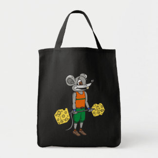 Cheese Weightlifting Mouse Grocery Tote Bag