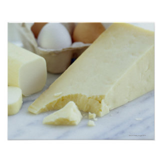 Cheeses and eggs. Eggs are rich in protein and Poster