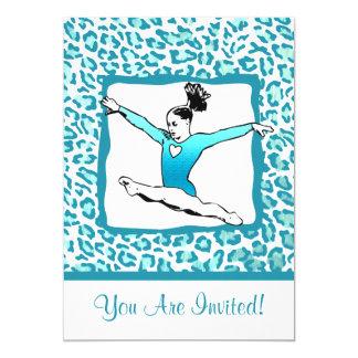 Cheetah Print Gymnastics - turquoise Invitation