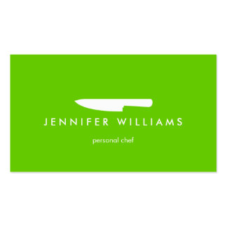 Chef Knife on Green for Catering, Restaurant Pack Of Standard Business Cards
