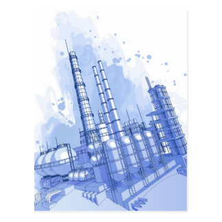 Chemical plant & watercolor background postcard
