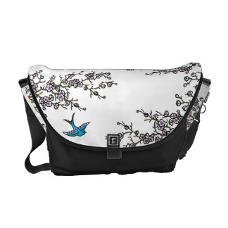 Cherry Blossom and Swallow Bag Messenger Bags