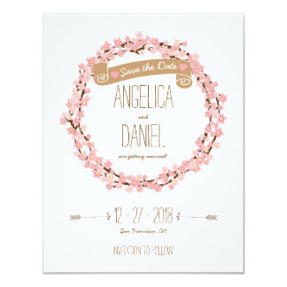 Cherry Blossom Floral Wreath Spring Save the Date 11 Cm X 14 Cm Invitation Card