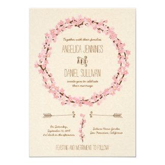 Cherry Blossom Floral Wreath Spring Wedding 13 Cm X 18 Cm Invitation Card