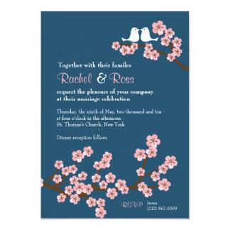 Cherry Blossom Garden (Pink Navy) Wedding 13 Cm X 18 Cm Invitation Card