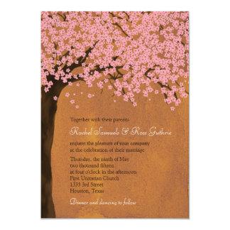 Cherry Blossom Sakura (Sunset) Watercolor Wedding 13 Cm X 18 Cm Invitation Card
