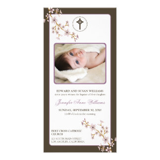 Cherry Blossoms Baptism Announcement (lilac) Photo Card Template