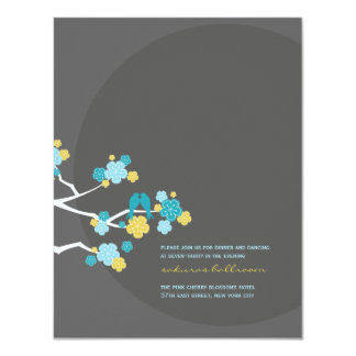 Cherry Blossoms Love Birds Wedding Reception Card 11 Cm X 14 Cm Invitation Card