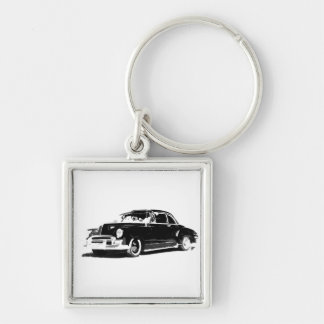 Chevrolet Sport Coupe Silver-Colored Square Key Ring
