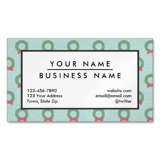 Chic Christmas Wreath Pattern Magnetic Business Cards