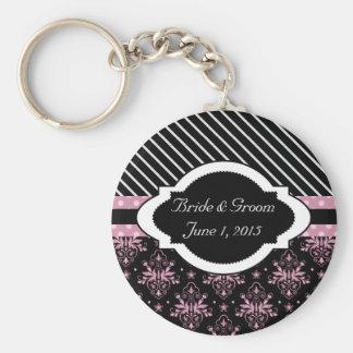 Chic Damask Pink and Black Wedding Keychain