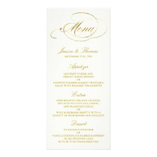 Chic Faux Gold Foil Wedding Menu Template - Ivory Custom Rack Card