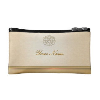 Chic Faux Gold Linen Stamp Clutches Cosmetics Bags