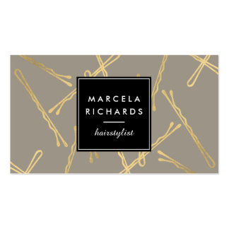Chic Gold Bobby Pins Hairstylist, Hair Salon III Pack Of Standard Business Cards