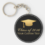 Chic Gold Foil Trendy Graduation Class of 2016 Basic Round Button Key Ring