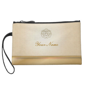 Chic Gold Linen Stamp Clutches Wristlets