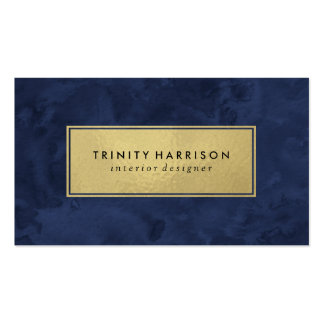Chic Modern Watercolor | Navy Blue and Gold Pack Of Standard Business Cards