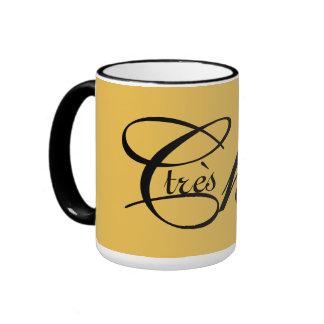 "CHIC MUG_""tres Chic"" BLACK TEXT ON GOLDEN YELLOW Ringer Mug"
