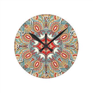 Chic Retro Red Turquoise Teal Kaleidoscope Pattern Clock