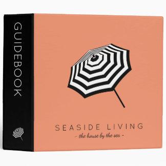 Chic Striped Beach Umbrella Logo Coral Binders
