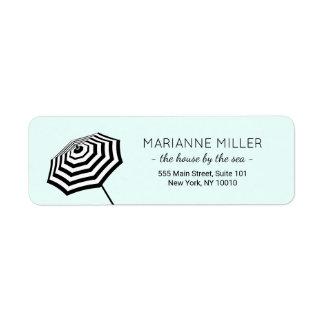 Chic Striped Beach Umbrella Logo Mint Return Address Label