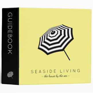Chic Striped Beach Umbrella Logo Yellow Binder