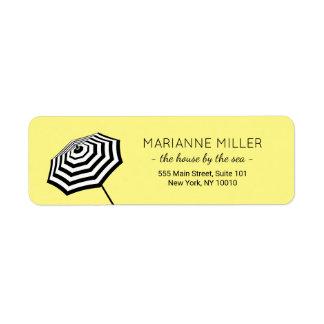 Chic Striped Beach Umbrella Logo Yellow Return Address Label