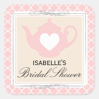 Chic Tan & Pink Teapot Bridal Shower Tea Sticker