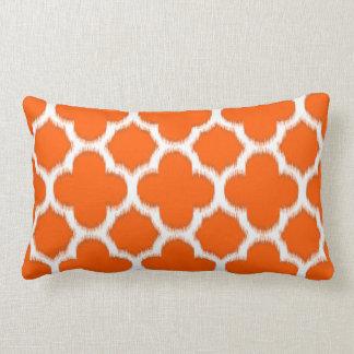 Chic Vivid Orange Moroccan Ikat Quatrefoil Pattern Throw Cushions