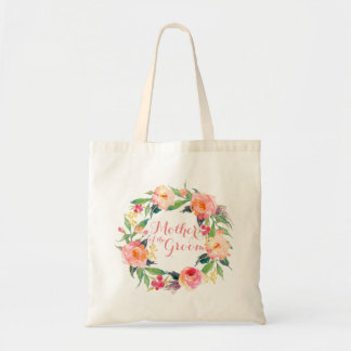 Chic Watercolor Floral Wreath Mother of the Groom Budget Tote Bag