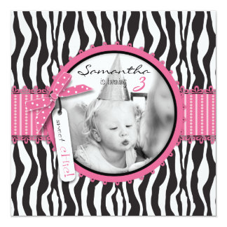 Chic Zebra Print & Cupcake Birthday Photo Template 13 Cm X 13 Cm Square Invitation Card