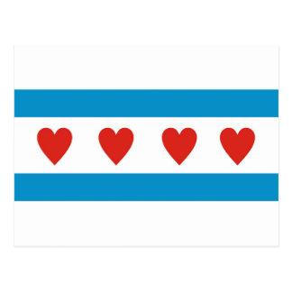 chicago city love flag hearts usa united states am postcard